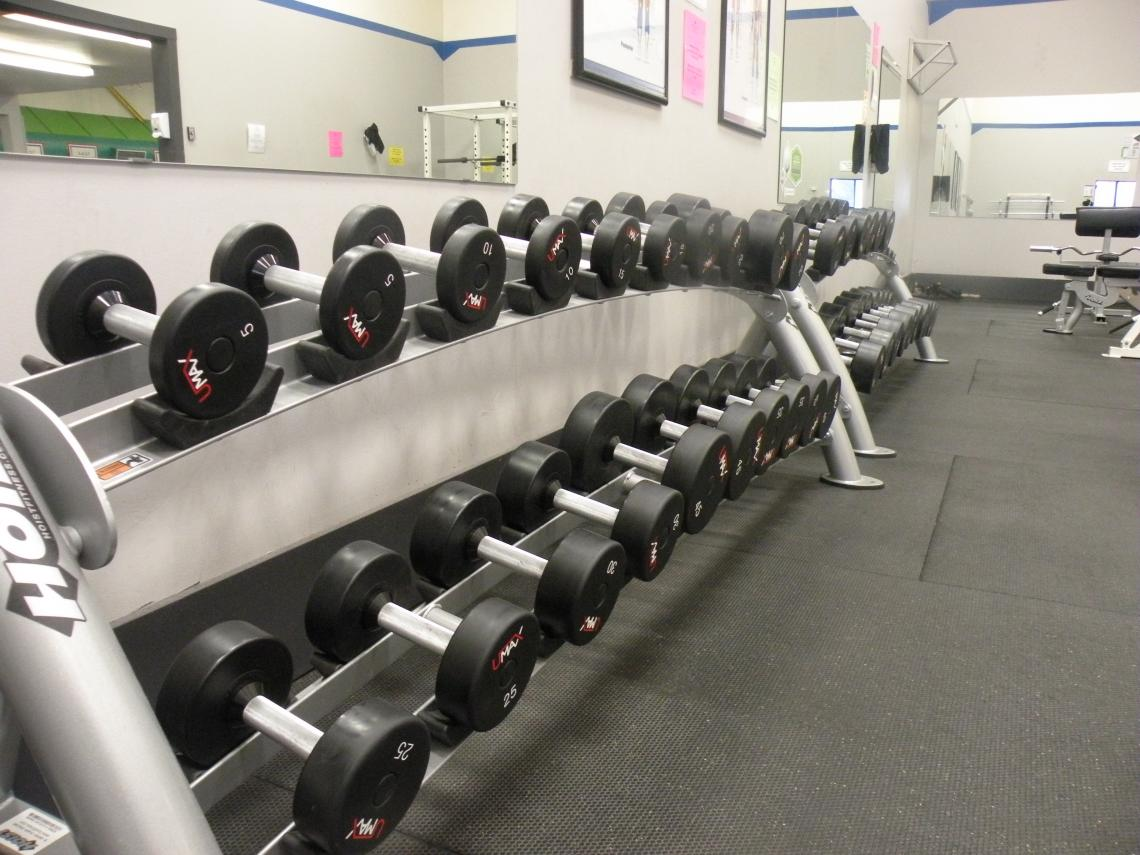 photo of weights in weight room