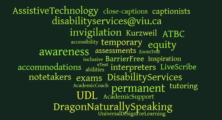 Wordle with many Assistive Technology terms