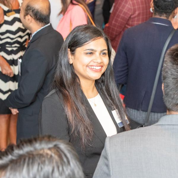A student networking at the 2019 FAB 40 event in Vancouver