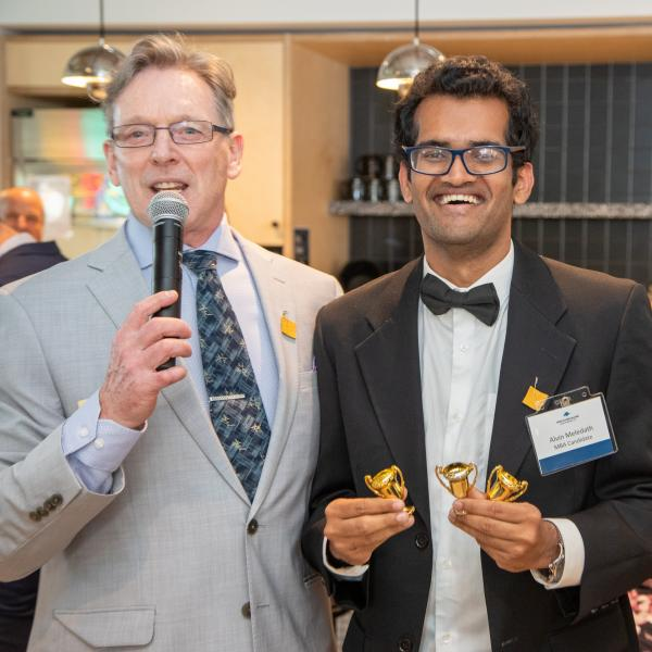 A MBA work-integrated learning faculty member and an MBA student at the 2019 FAB 40 event in Vancouver