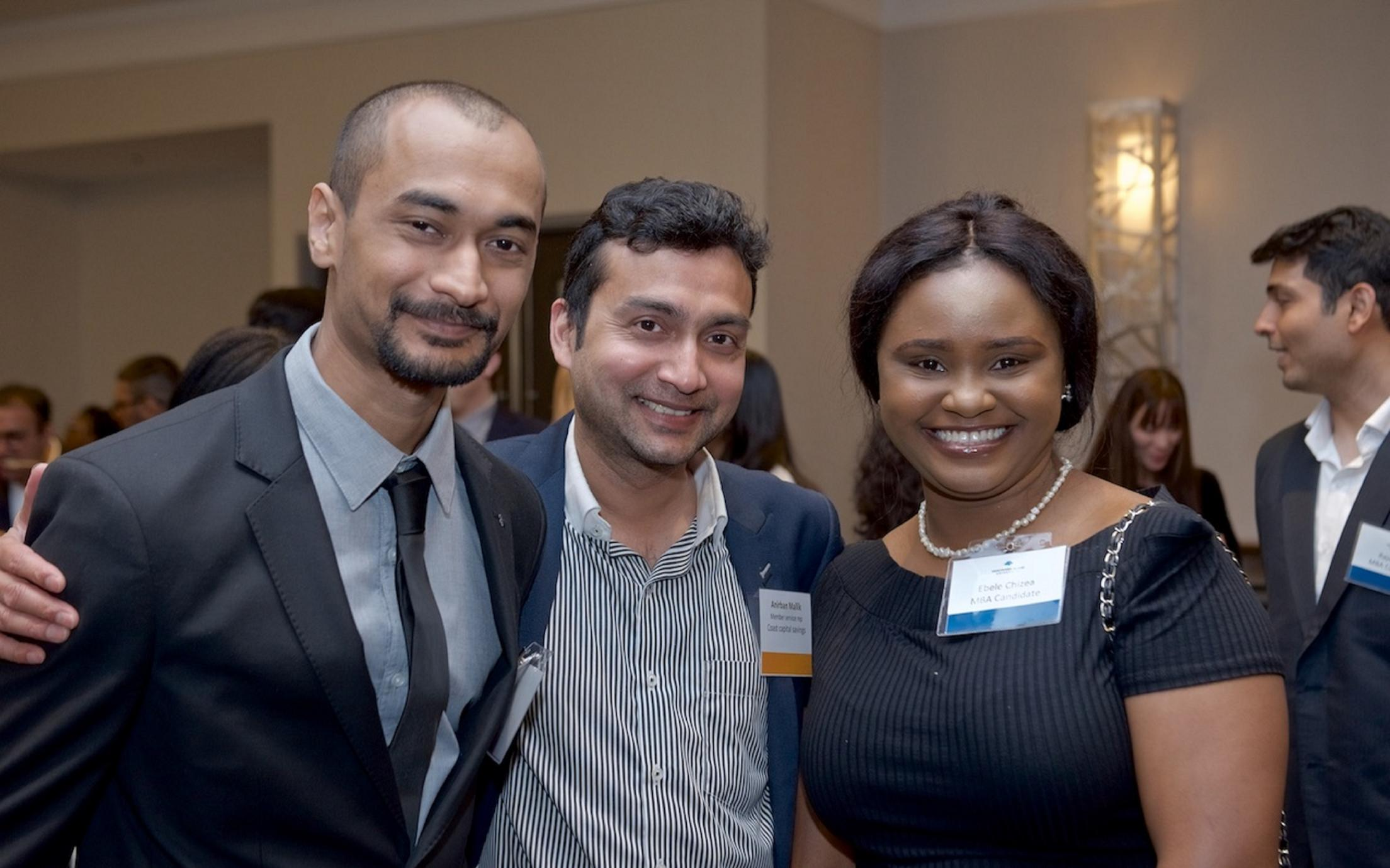 Employers and students at a networking event