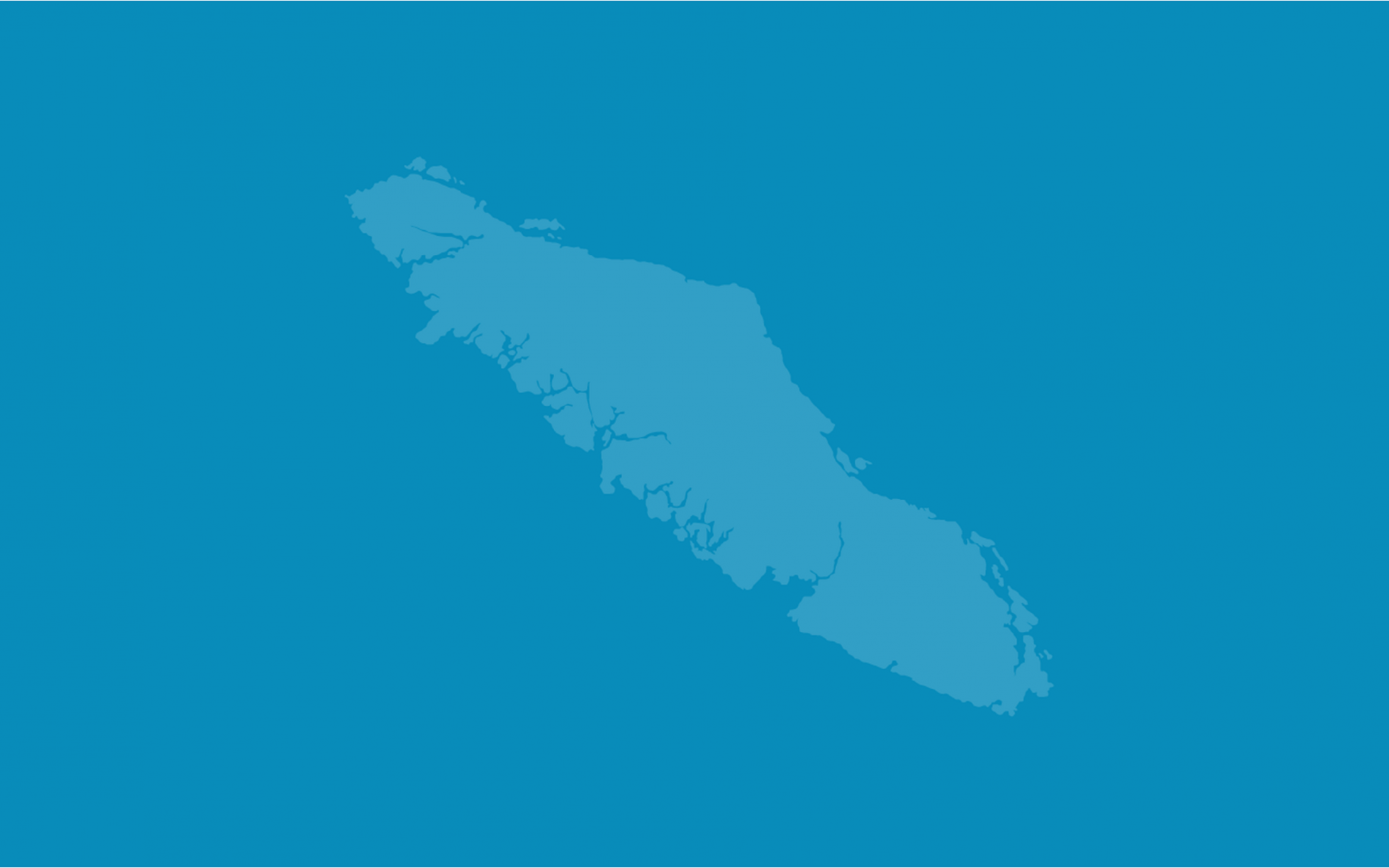 An image of Vancouver Island on a blue background