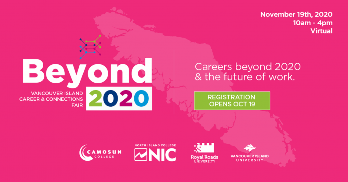 The Beyone 2020 logo on a pink background with an image of Vancouver Island in the background