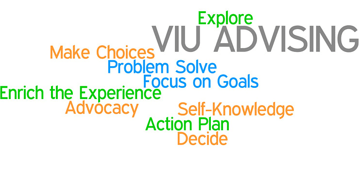 VIU Advising Centre - explore, make choices, problem solve, focus on goals, enrich the experience, advocacy, self-knowledge, action plan, decide.