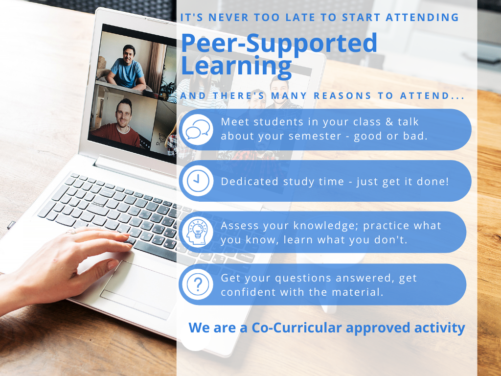 Poster for Peer-Supported Learning Information Sessions