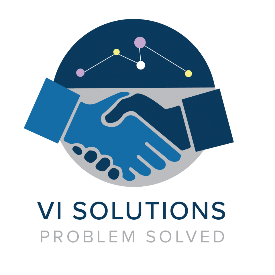VI Solutions Logo - Hands shaking in front of connected links